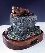 Mountain Lion Sculptures - Vantage Point by Carl Capps