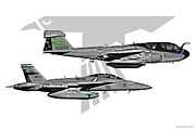 Fa-18 Posters - VAQ-135 Prowler and Growler Poster by Clay Greunke