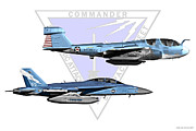 F-18 Digital Art - VAQ Centennial Jets by Clay Greunke