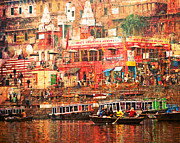 Get Together Framed Prints - Varanasi India Framed Print by Karel Noppe