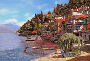 Village Painting Framed Prints - Varenna on Lake Como Framed Print by Guido Borelli