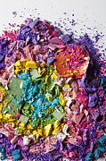 Make-up Posters - Various Crushed Up Make-up Powder Products Arranged In An Abstract Pattern Poster by Larry Washburn