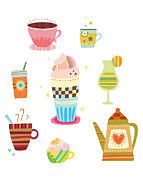 Coffee Drinking Digital Art Prints - Various Drinks Print by Eastnine Inc.