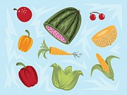 Various Fruit And Veggies Print by Nate Koehler