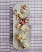 Garlic Framed Prints - Various Garlic Cloves On A Wooden Platter Framed Print by Victoria Pearson
