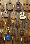 Various Guitars & Ukuleles Hanging From Wall Print by Lisa Romerein