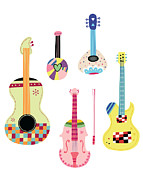 Violin Digital Art - Various Kinds Of Stringed Instruments by Eastnine Inc.