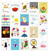 Ice Cream Illustration Posters - Various Seasonal Postcard Poster by Eastnine Inc.