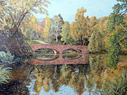 University Of Illinois Painting Originals - Varsity Lake Bridge CU Boulder  by Tom Roderick