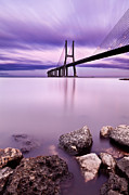 Portugal Framed Prints - Vasco da Gama bridge Framed Print by Jorge Maia