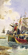 Sea Route Framed Prints - Vasco Da Gama, Portuguese Explorer Framed Print by Photo Researchers