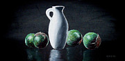 Vase Pastels Prints - Vase and Eggplants Print by Richard Smith