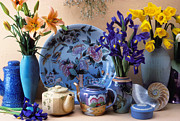 Daffodils Posters - Vase and plate still life Poster by Garry Gay