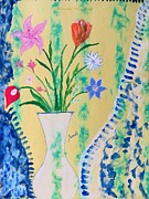Vase Of Flowers Prints - Vase Florum Print by Sonali Gangane