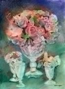 Vases Mixed Media Posters - Vase Full Of Roses Poster by Arline Wagner