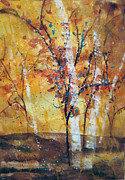 Wet Into Wet Watercolor Prints - Vase-Inspired Trees Print by Chris Blevins