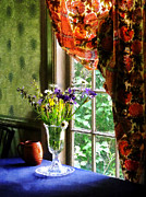 Textile Art - Vase of Flowers and Mug by Window by Susan Savad