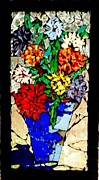 Bright Colors Glass Art - Vase of Flowers by Brenda Marik-schmidt