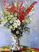 Impressionist Vase Floral Paintings - Vase of Flowers by Claude Monet
