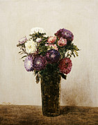Vase Paintings - Vase of Flowers by gnace Henri Jean Fantin-Latour
