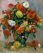 Impressionist Vase Floral Paintings - Vase of Flowers by Pierre Auguste Renoir