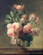 Vase Painting Metal Prints - Vase of Flowers Metal Print by Pierre Joseph Redoute
