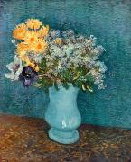 Yellow On Blue Framed Prints - Vase of Flowers Framed Print by Vincent Van Gogh