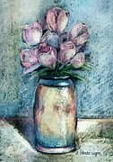 Botanical Pastels Metal Prints - Vase Of Pink Tulips Metal Print by Arline Wagner