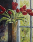 Marsha Young - Vase of Red Tulips