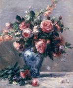 Pierre Auguste Framed Prints - Vase of Roses Framed Print by Pierre Auguste Renoir