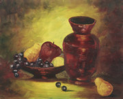 Fruit Bowl Paintings - Vase with Fruit Bowl by Rebecca Kimbel