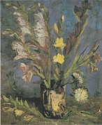 Not Working Prints - Vase with Gladioli Print by Vincent Van Gogh
