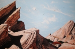 Skies Drawings Posters - Vasquez Rocks 6 Poster by Stephen Ponting