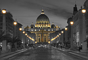 Vatican Photos - Vatican at Night by John  Bartosik