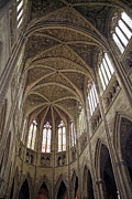 Aquitaine Metal Prints - Vaulted ceilings and stained glass windows of Saint Andre Cathedral in Bordeaux Metal Print by Sami Sarkis