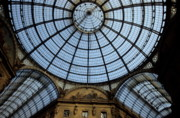 Archways Posters - Vaulted glass ceiling of the shopping arcade Galleria Vittorio Emanuele II Poster by Sami Sarkis