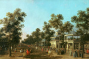 Society Paintings - Vauxhall Gardens the Grand Walk by Canaletto