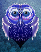 Owl Digital Art Prints - Vector Owl Print by Julie L Hoddinott