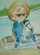 Lady In Lake Painting Posters - Veda Poster by Jill Morris