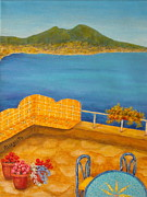 Tiles Painting Framed Prints - Veduta di Vesuvio Framed Print by Pamela Allegretto