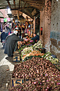 Marrakesh Posters - Veg alley Poster by Marion Galt