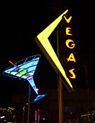 Las Vegas Prints - Vegas And Martini Neon Print by Bob Christopher