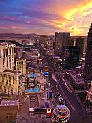 City Scape Metal Prints - Vegas Sunset Metal Print by Ches Black