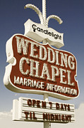 Retro Framed Prints - Vegas Wedding Chapel Framed Print by Anthony Ross
