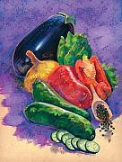 Vegetables Pastels Posters - Veges Poster by Valerian Ruppert