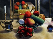 Pewter Paintings - Vegetable Still Life with Rooster by Ben Saturen