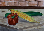 Corn Paintings - Vegetables by Barbara McMahon