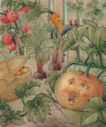 Green Drawings Posters - Vegetables Poster by Kestutis Kasparavicius