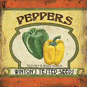 Pepper Painting Metal Prints - Veggie Seed Pack 2 Metal Print by Debbie DeWitt