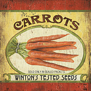 Carrot Framed Prints - Veggie Seed Pack 4 Framed Print by Debbie DeWitt